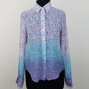 💥About A Girl Ombre Floral Long Sleeve Semi Sheer